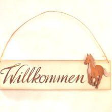 Cassetta Holzschild Willkommen Pferd
