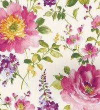 THEVENON Stoff La Cassetta I LOVE YOU 1 Stoff Blumen Rosa Pfingstrose