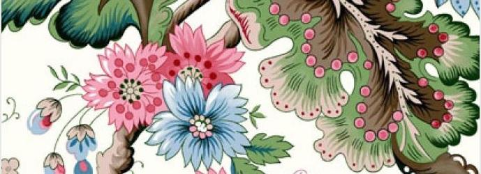 THEVENON Stoff La Cassetta PERSEPOLIS 3 Stoff Blumen Ranken