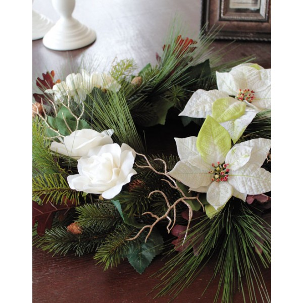 Dekokranz Poinsettia Rose Tanne Winter