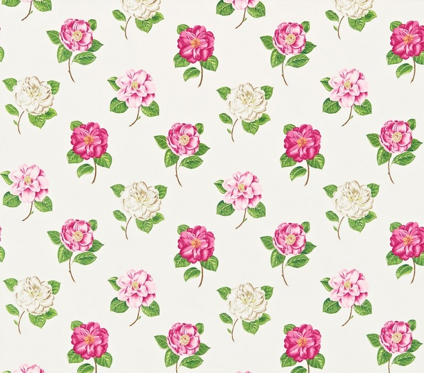 SANDERSON UK Stoff LAMORNA pink ivory Rosen pink creme 1