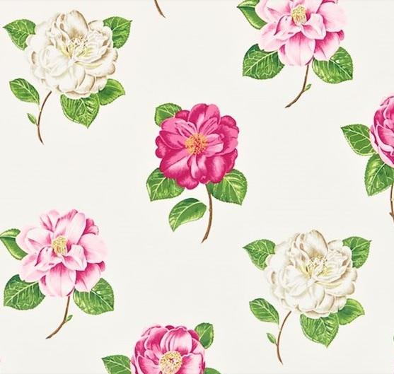 SANDERSON UK Stoff LAMORNA pink ivory Rosen pink creme 2