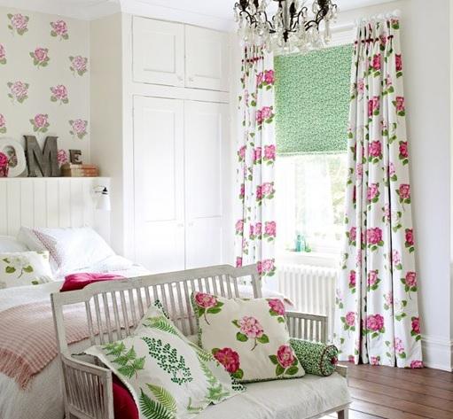 SANDERSON UK Stoff LAMORNA pink ivory Rosen pink creme 3