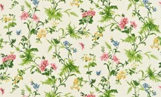 SANDERSON UK Stoff PRIMROSE HILL cherry primrose Blumen 1