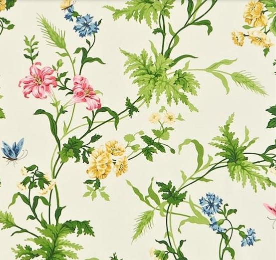 SANDERSON UK Stoff PRIMROSE HILL cherry primrose Blumen 2