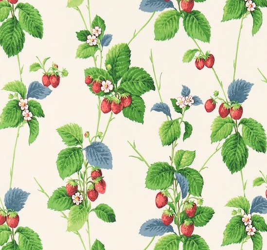 SANDERSON UK Stoff SUMMER STRAWBERRY leaf Erdbeeren 1