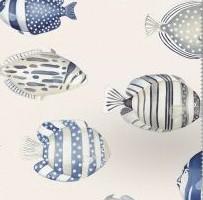 THEVENON Stoff COPACABANA blau Fische Maritim Meer 1