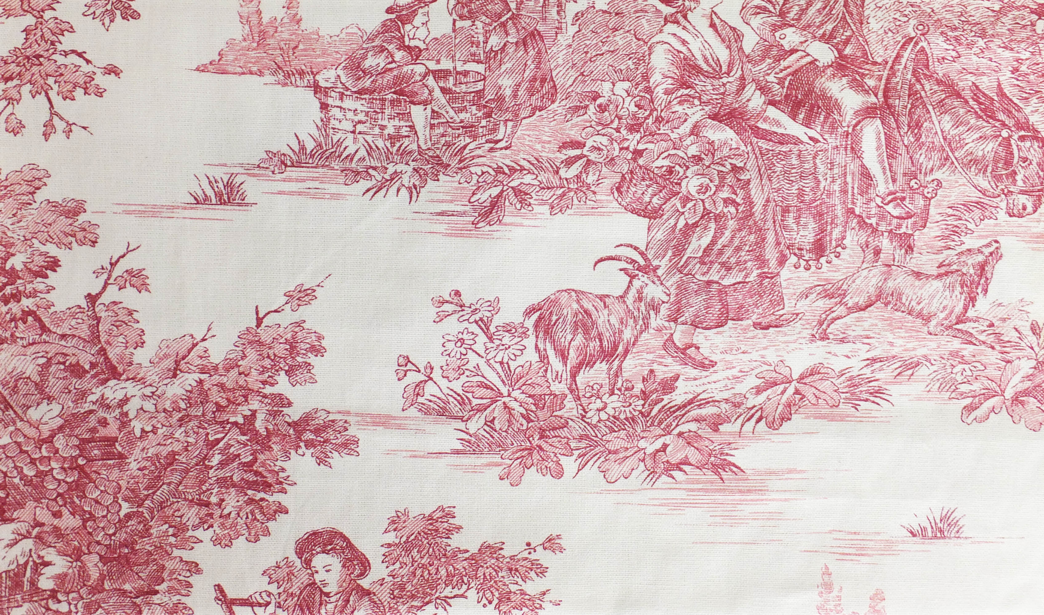 meterstoff pastorale rot stoff toile de jouy rotla cassetta. Black Bedroom Furniture Sets. Home Design Ideas