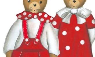 Cassetta Holzdeko Aufsteller Hasenpaar rot-weiß groß