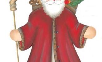 Cassetta Holzdeko Sankt Nikolaus mit Stab und Bischofsmütze