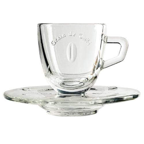 La Rochere Espressotasse mit Unterteller Glas GRAIN DE CAFÉ