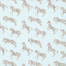 SANDERSON UK Stoff PRETTY PONIES chintz blue Pferde 1