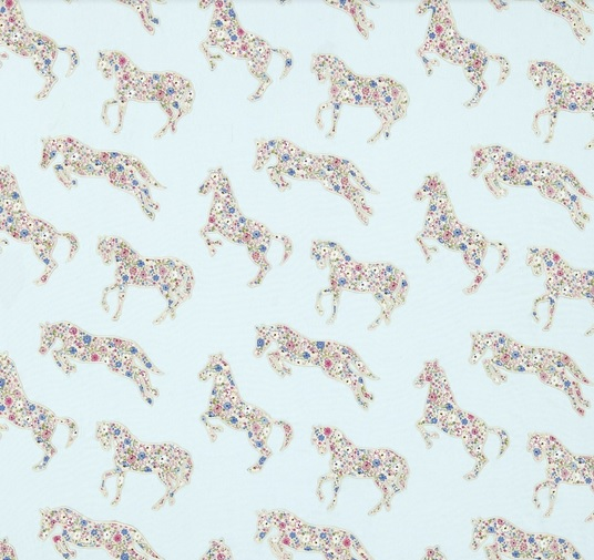 SANDERSON UK Stoff PRETTY PONIES chintz blue Pferde 1