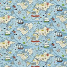 SANDERSON UK Stoff TREASURE MAP sea blue Kinderzimmer Schatzkarte 1