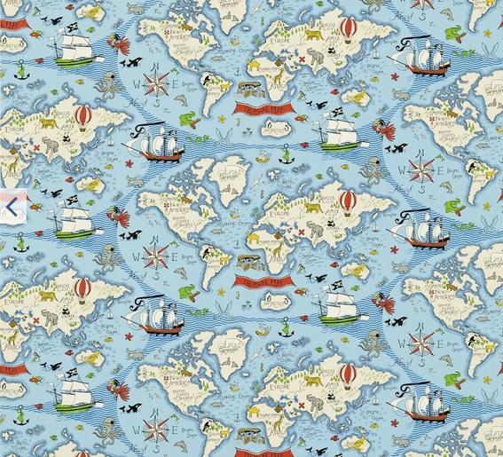 SANDERSON UK Stoff TREASURE MAP sea blue Kinderzimmer Schatzkarte 1