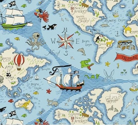 SANDERSON UK Stoff TREASURE MAP sea blue Kinderzimmer Schatzkarte 2