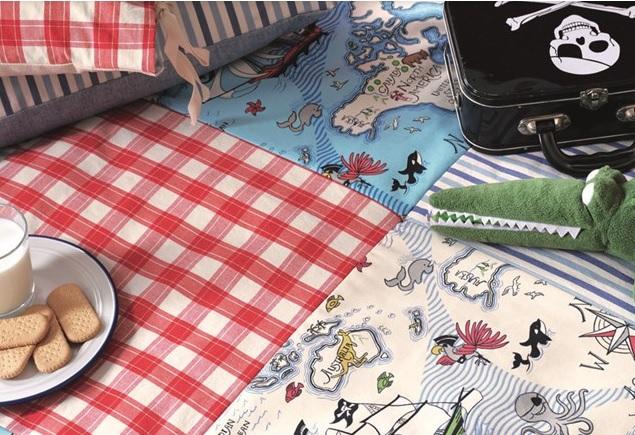 SANDERSON UK Stoff TREASURE MAP sea blue Kinderzimmer Schatzkarte 3