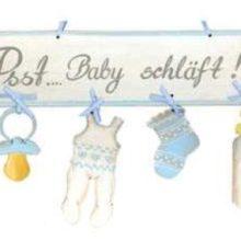 Holzschild Kinderzimmer Psst Baby schläft hellblau La Cassetta