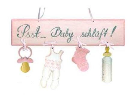 Holzschild Kinderzimmer Psst Baby schläft rosa La Cassetta