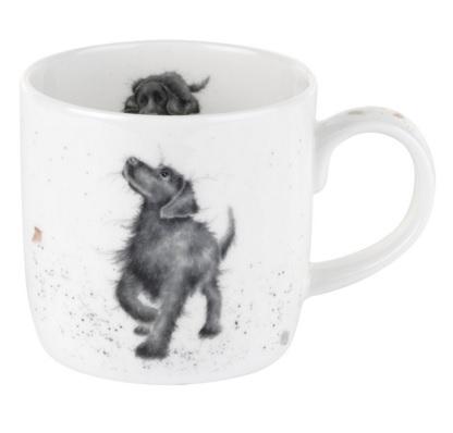 Royal Worcester WRENDALE Mug Tasse Hund schwarz La Cassetta