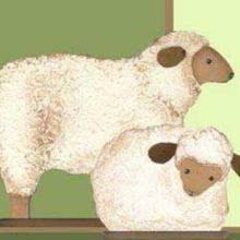 Holzdeko Aufsteller Schafe Ostern Frühling creme braun