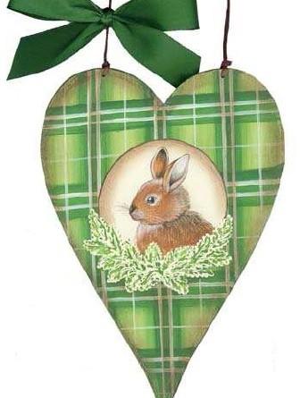 Holzschild Herz Ostern Frühling Hase creme grün