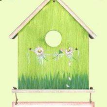 Holzschild Vogelhäuschen Sommer Bellis rosa grün
