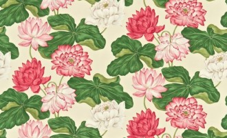 SANDERSON UK Stoff KEW strawberry buttermilk Seerosen 1