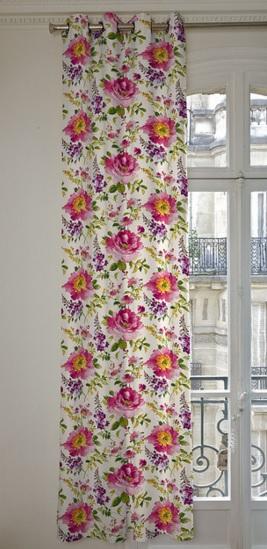 THEVENON Stoff La Cassetta I LOVE YOU 5 Vorhang Blume rosa lila grün