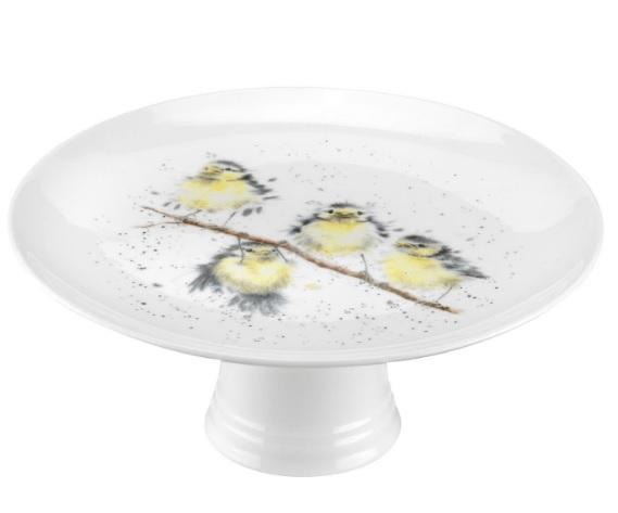 Royal Worcester WRENDALE Aufsatz Kuchenplatte mit Fuss BIRDS La Cassetta