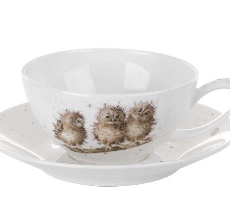 Royal Worcester WRENDALE Cappuccino Tee Tasse mit Unterteller EULEN La Cassetta