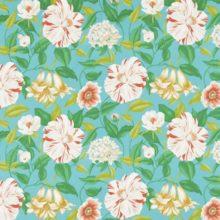 SANDERSON UK FLOREANNA turquoise 2 Stoff Hibiskusblüten türkis La Cassetta