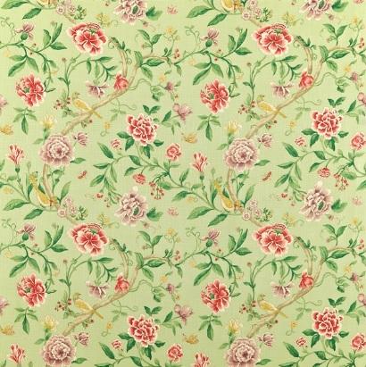 SANDERSON UK PORCELAIN GARDEN rose fennel 1 Stoff Englische Rosen grün La Cassetta
