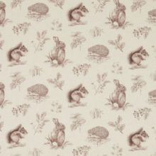 SANDERSON UK SQUIRREL and HEDGEHOG walnut linen 1 Woodland Walk Hase Igel Eichhörnchen La Cassetta