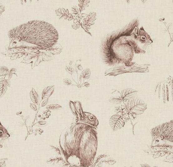SANDERSON UK SQUIRREL and HEDGEHOG walnut linen 2 Woodland Walk Hase Igel Eichhörnchen La Cassetta