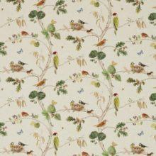SSANDERSON UK WOODLAND CHORUS linen multi 1 Herbst Wald Bäume Vögel creme La Cassetta
