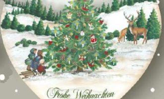 Holzschild Kinder Schlitten Rehe Frohe Weihnachten Landhaus Deko La Cassetta