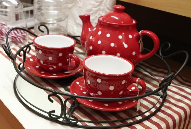 Tee Kanne Tasse FLIEGENPILZ Punkte rot weiss: Keramik von Sonnentor La Cassetta