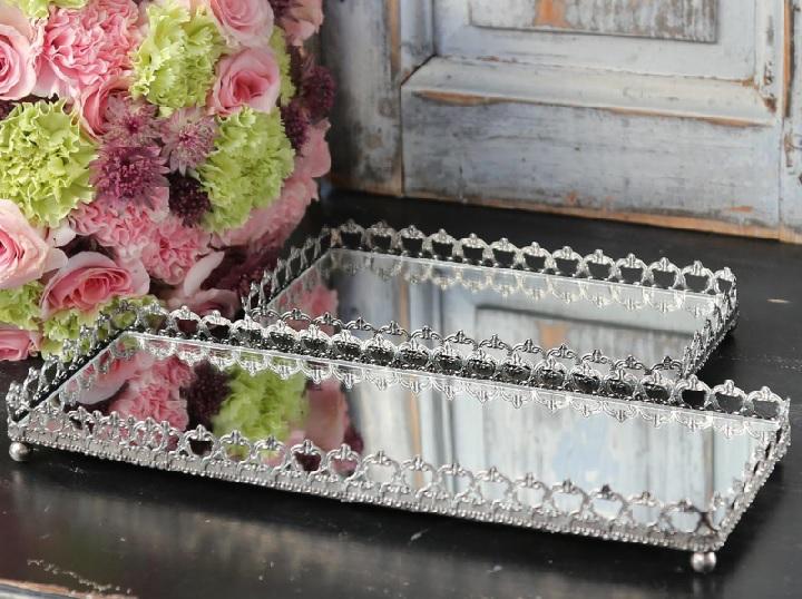 Spiegeltablett mit Spitzenkante rechteckig antik silber La Cassetta