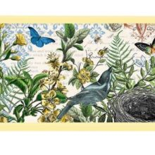 Tablett MICHEL DESIGN WORKS klein INTO THE WOODS Wald Blumen Vogelnest