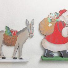 Holzdeko Aufsteller Weihnachtsmann Nikolaus Knecht Ruprecht mit Eselchen klein La Cassetta