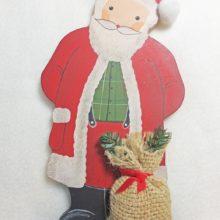 Holzdeko Weihnachtsmann Nikolaus mit Jutesack rot grün La Cassetta