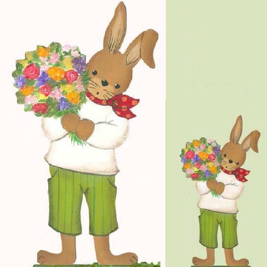 Holzdeko Aufsteller Hase grün gestreifte Hose bunter Blumenstrauss gross klein Ostern La Cassetta