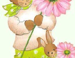 Holzdeko Aufsteller Hase grüne Hose rosa Blume gross klein Ostern La Cassetta