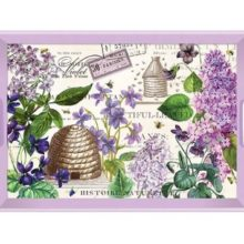 Tablett MICHEL DESIGN WORKS gross LILAC and VIOLETS Flieder Veilchen violett La Cassetta