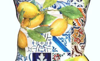 Steen Design Kissenhülle 45x45cm LANZAROTE mit Biese blau La Cassetta