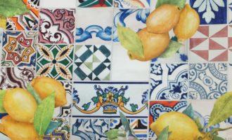 Meterstoff STEEN DESIGN Lanzarote mediterran Sommer Garten Toskana Zitronen Kacheln blau gelb La Cassetta