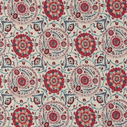 SANDERSON UK Meterstoff ANTHOS red indigo Jacquard orientalisch La Cassetta 1