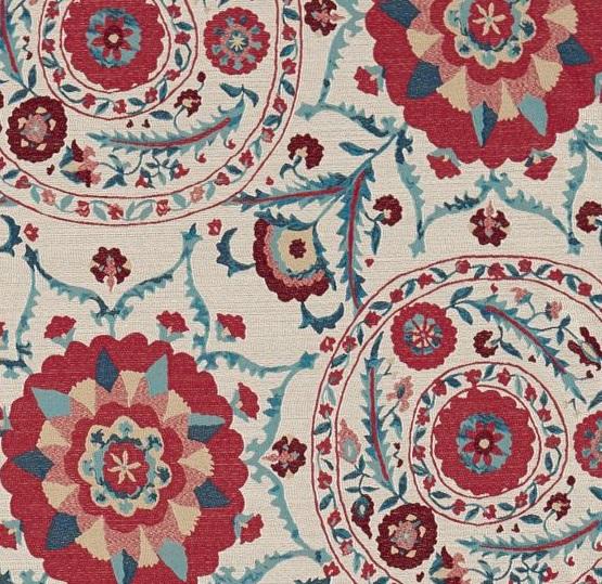 SANDERSON UK Meterstoff ANTHOS red indigo Jacquard orientalisch La Cassetta 2