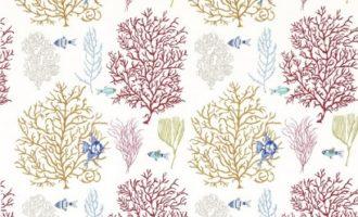 SANDERSON UK Meterstoff CORAL AND FISH tropical brights maritim Korallen Fische 1